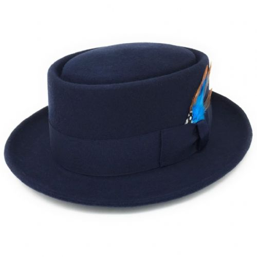 Lined Navy Pork Pie Hat -  Premium Wool